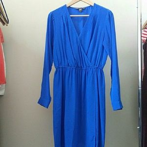 Charlie Jade blue 100% silk faux wrap dress size S